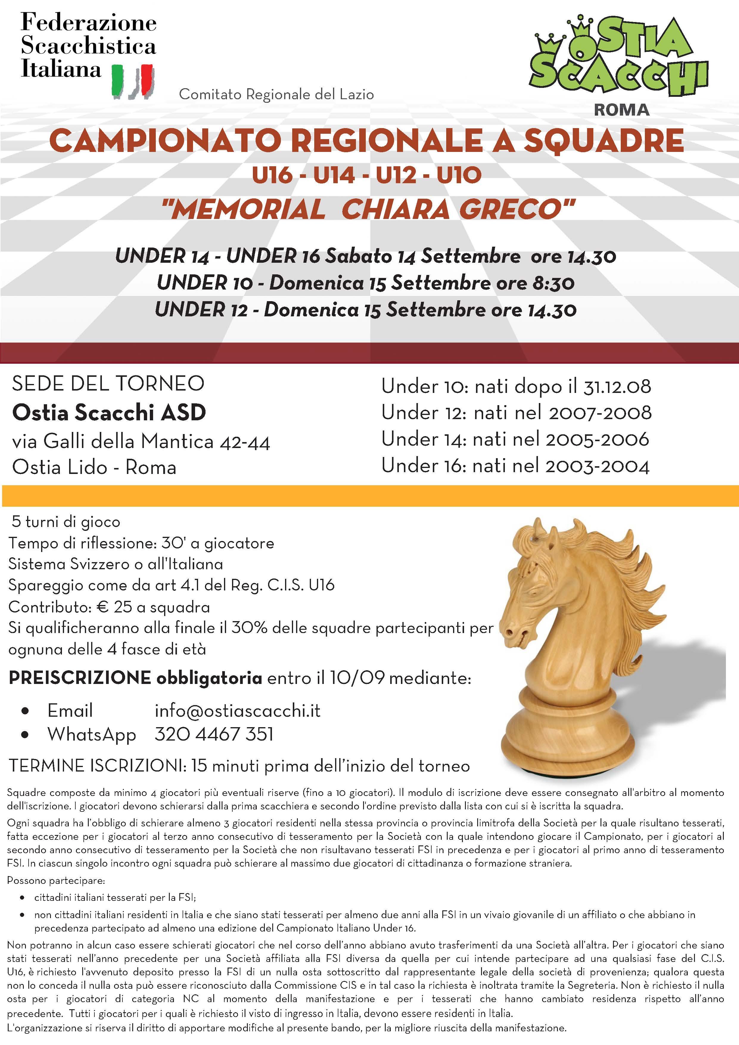 Calendario Tornei Scacchi.Comitato Regionale Lazio Fsi